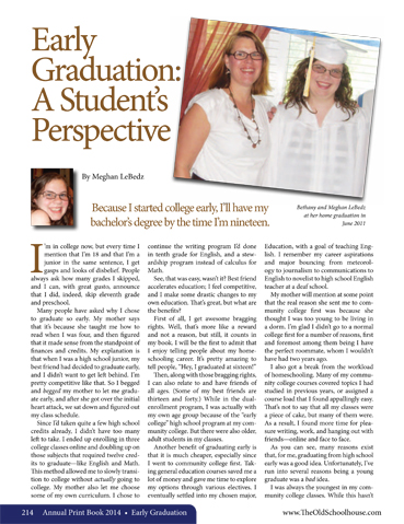 Article Spotlight ~ Early Graduation – By Meghan LeBedz - The Old ...