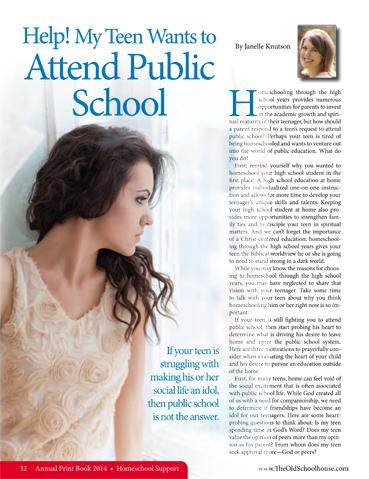 Article Spotlight ~ Help! My Teen Wants to Attend Public School ...