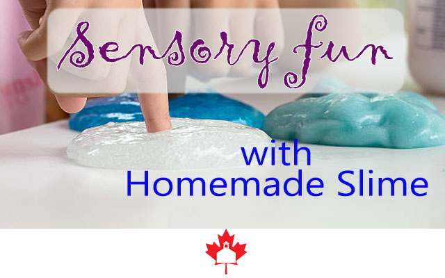 fingers touching homemade slime; title: Sensory fun with Homemade Slime