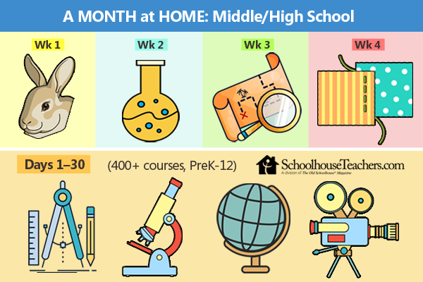 What to do at home for activities with middle and highschool homeschool students.