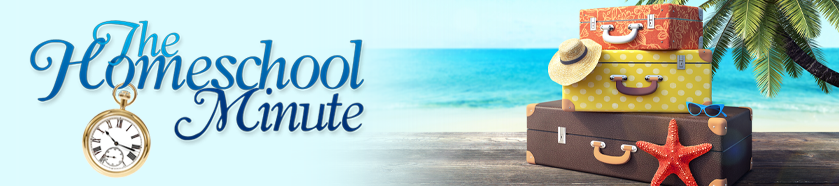 a stack of suitcases on a beach in the summer with The Homeschool Minute logo