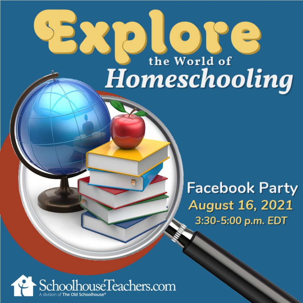 Magnifying glass with a globe, books and apple in a group and the words Explore the World of Homeschooling Facebook Party