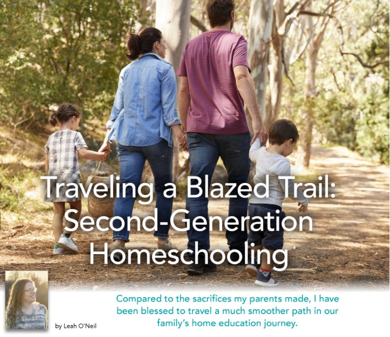 a family of a mother, father. young son and young daughter who are second generation homeschoolers walk along a trail