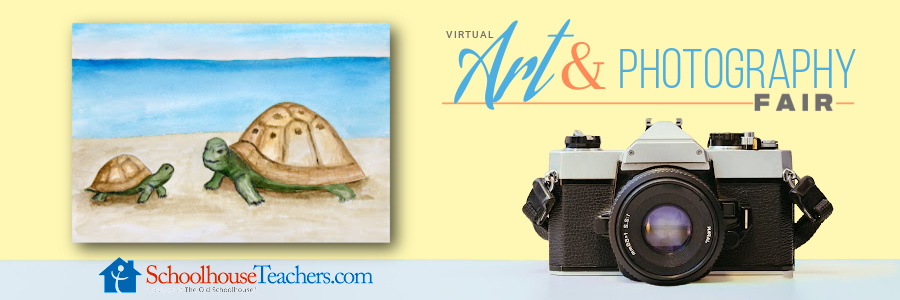 A camera, a child's drawing of two turtles by the water and the words Virtual Art & Photography Fair