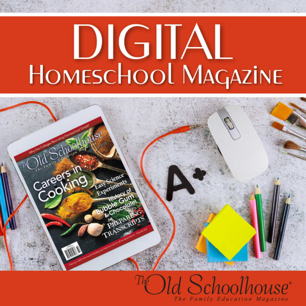 a tablet computer showing a digital issue of The Old Schoolhouse Magazine on a countertop with school supplies
