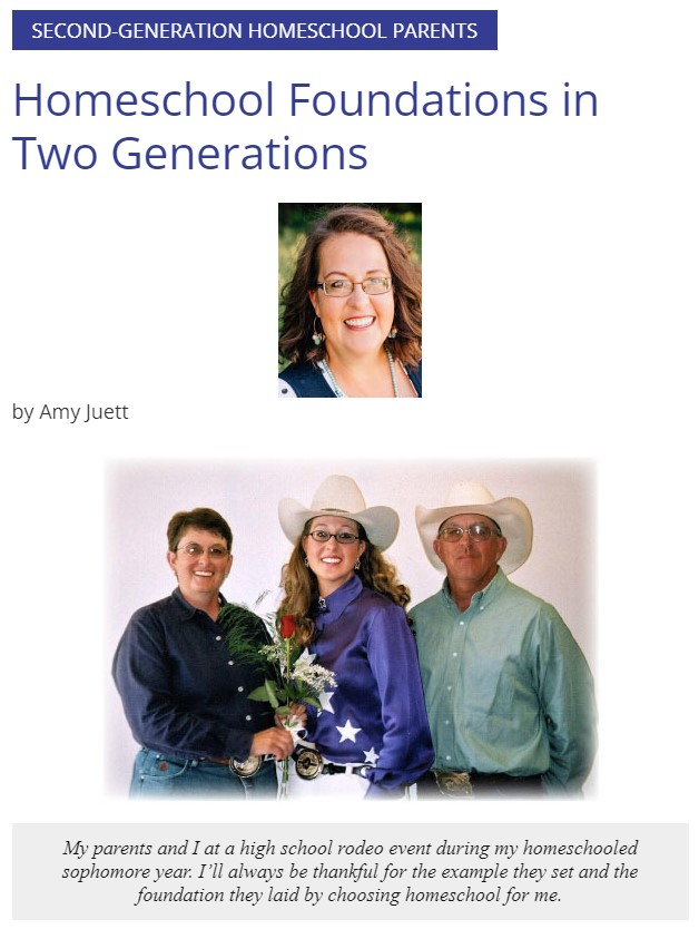 Amy Juett, pictured with her parents, husband and wife homeschoolers, writes about Homeschool Foundations in Two Generations
