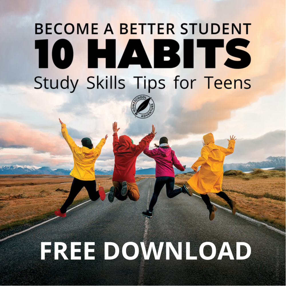 four teenager on a road jumping in the air for joy on the cover of Become a Better Student 10 Habits: Study Skills Tips for Teens free ebook