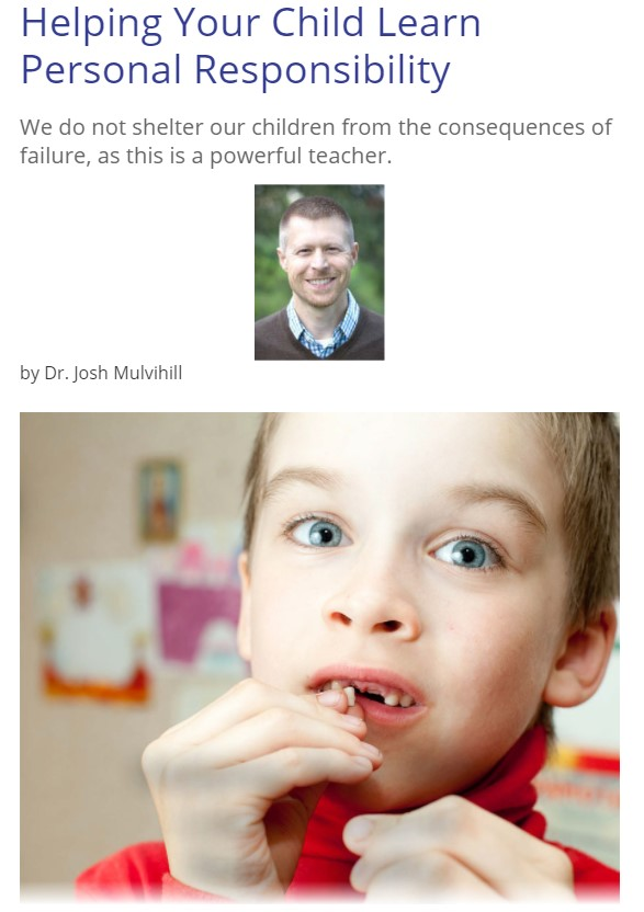 author Dr. Josh Mulvilhill, a photo of his son with a missing tooth and the title Helping Your Child Learn Personal Responsibility