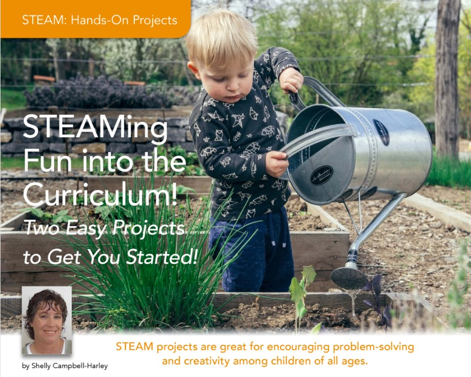 A boy waters a garden with the headline STEAMing fun into the curriculum