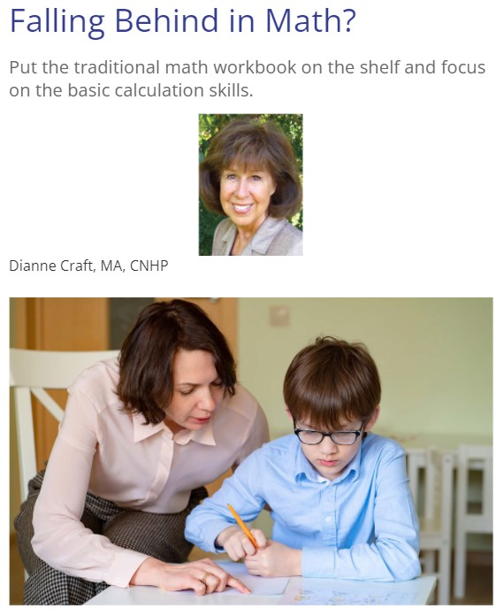 """A parent heling a child struggling with school work under the title """"Falling Behind in Math?"""""""